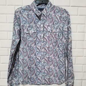 Tommy Hilfiger Button Down Paisley Shirt Womens M